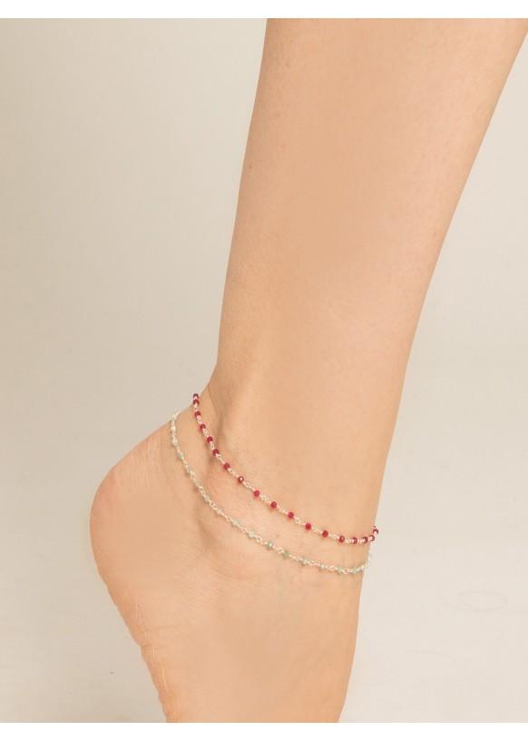 Bracelet de cheville Sylvie, Rubellite et amazonite